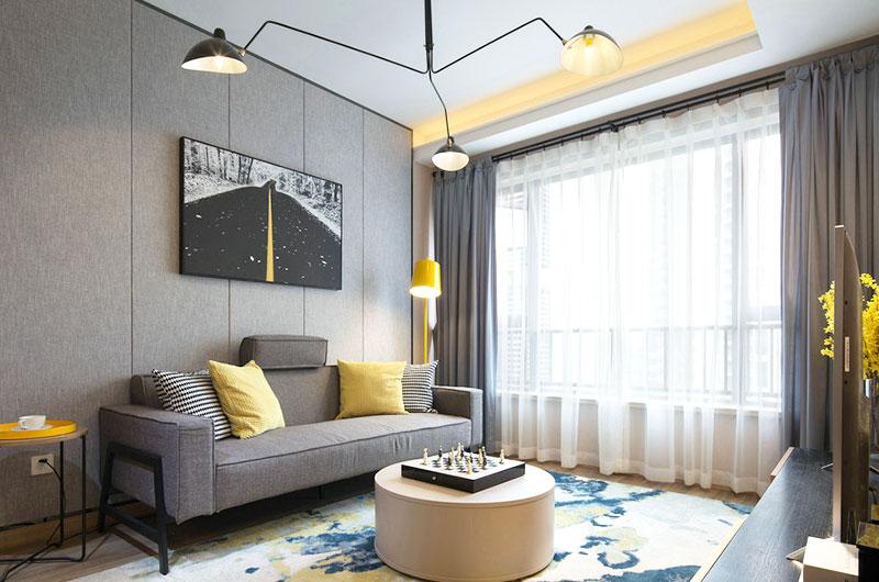 时尚现代北欧风 客厅窗帘效果图