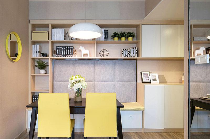 现代混搭风餐厅 软包背景墙设计