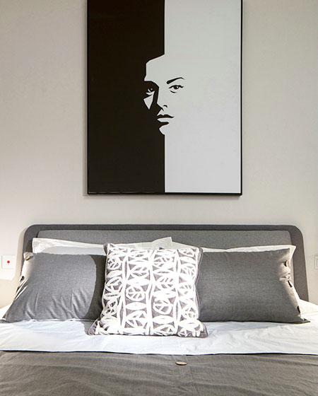 复古混搭风主卧室照片墙效果图