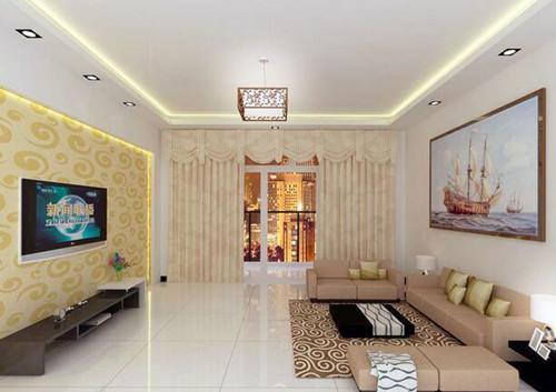 这款客厅石膏线属于简约风格,有个性的吊顶设计,在加上四周设计了图片