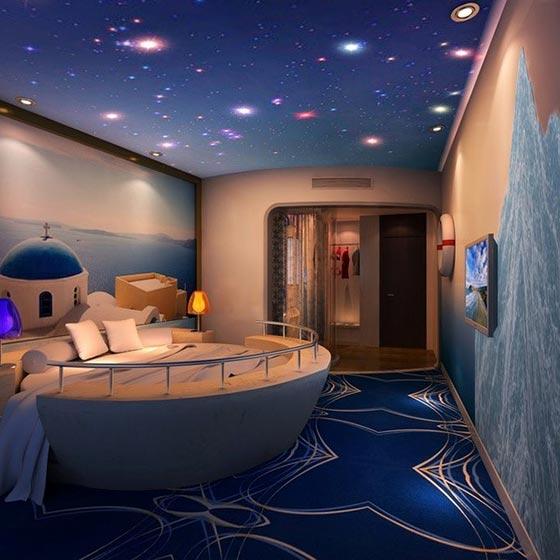 创意卧室背景墙实景图