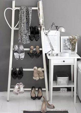 梯子改造鞋架图片