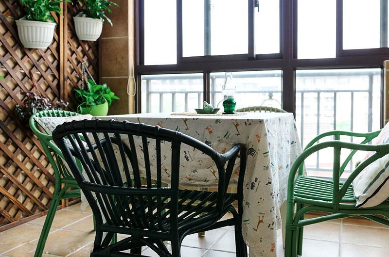乡村美式田园风 休闲阳台餐厅设计