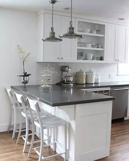 灰色厨房吧台设计图