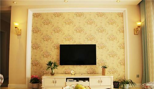田园风格电视背景墙效果图 清新淡雅图片