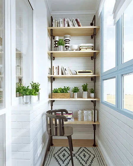 阳台实用木质置物架图
