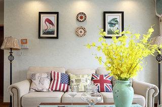 浪漫美式客厅沙发照片墙效果图