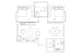 104平美式小三室装修平面布置图