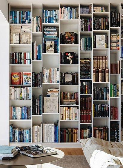 墙面书架书架设计实景图