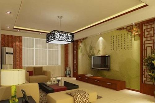 尤其是回型花纹背景墙,在新中式家中尤为醒目.图片