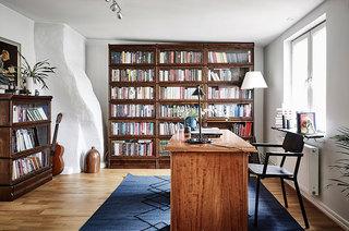 实木复古北欧风 书房书架设计