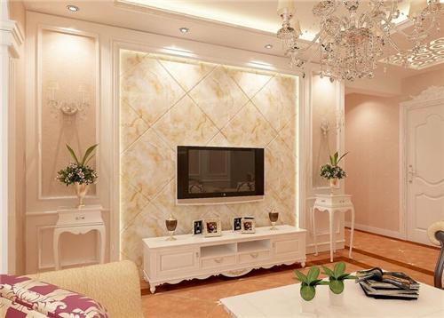 简欧设计风格中对客厅电视背景墙的装修并不华美