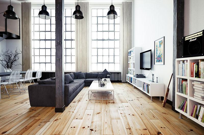 休闲美式loft 客厅木质地板装饰图