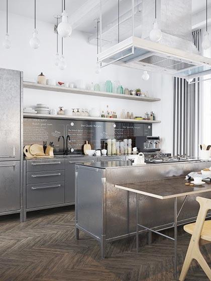 金属系厨房设计装修装饰效果图