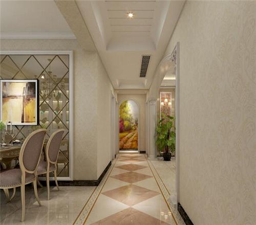 度过道转入客厅的拐角设计了壹个运用的酒柜,衔接天然得体.图片