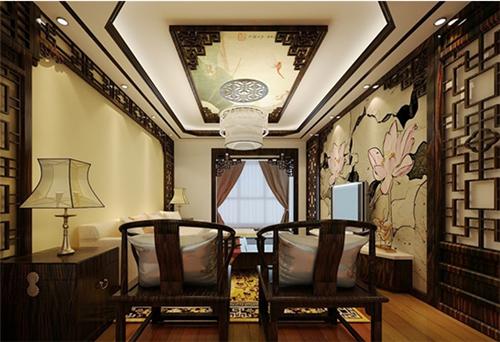 中式客厅吊顶装修效果图 120㎡大客厅惊艳传统之美