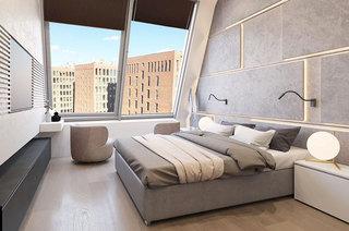 简约阁楼公寓装修卧室背景墙装修