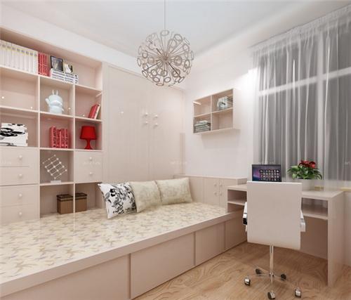 图中的房间面积不大,设计得却非常的巧妙,两张榻榻米米床并列的放着