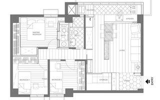 76平小三室装修小户型平面图
