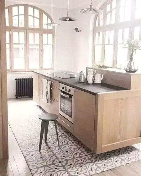 瓷砖木质混搭装修厨房地板装修