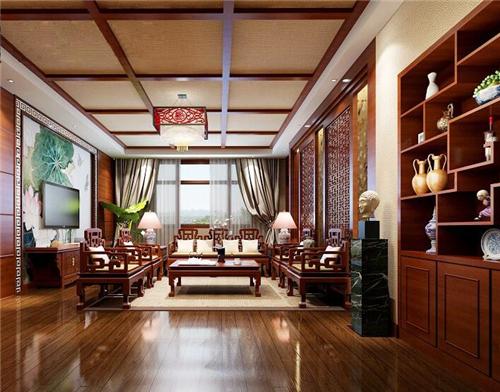 中式风格室内手绘水彩