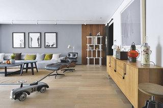 160平简约公寓装修客厅地板装修