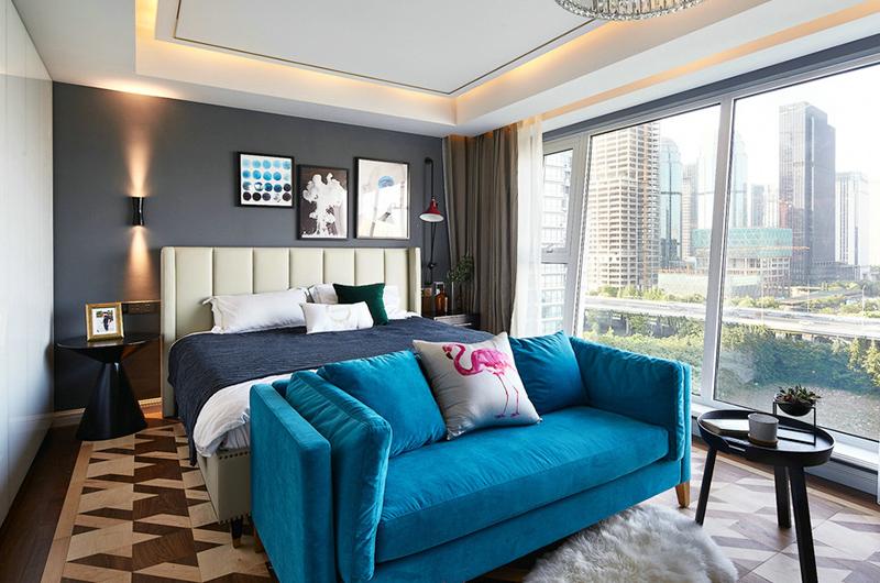 简约风格200平米装修卧室床尾凳图