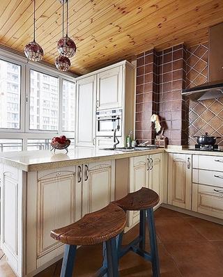 美式风格厨房吧台效果图装修