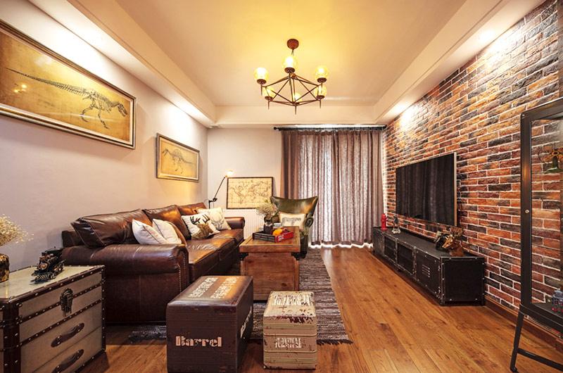110平混搭风格婚房装修客厅沙发图片