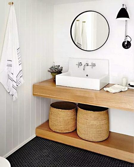 小户型木质卫生间洗手台效果图