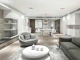 现代简约风格四房两厅效果图 素雅高级灰
