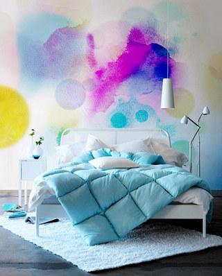 清新卧室白色地毯设计