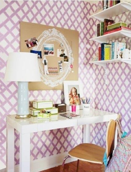 粉色书房设计参考图