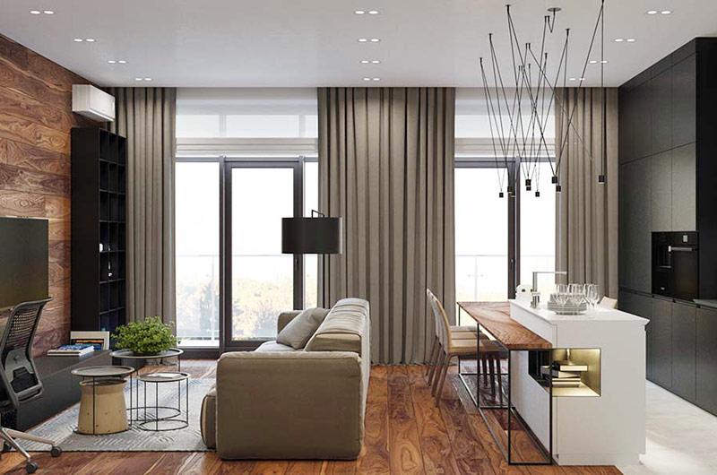 单身公寓装修客厅窗帘图片