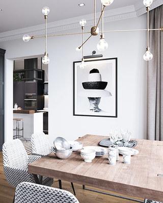 111平二居室装修木质餐桌图片