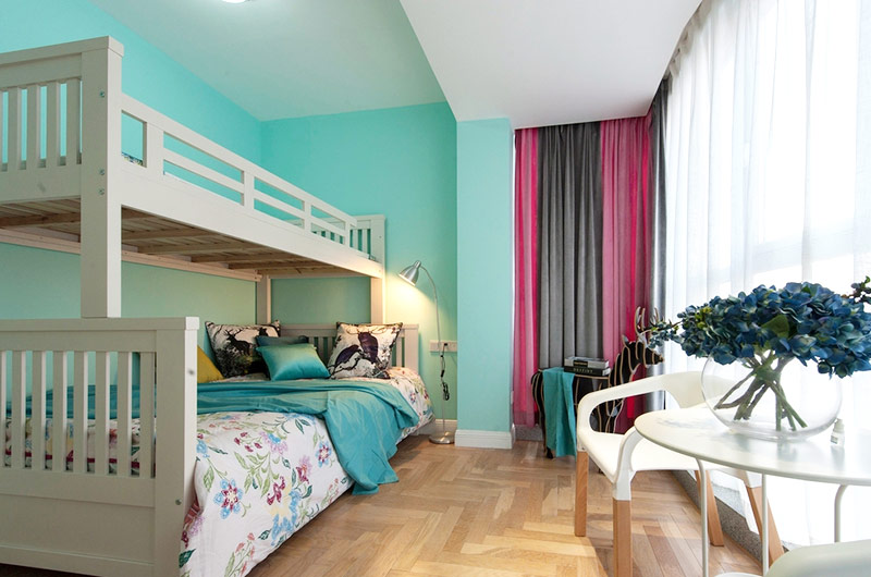 197平混搭风格装修儿童房高低床设计