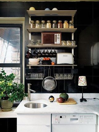 黑色厨房收纳平面图
