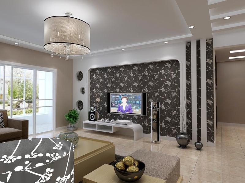 黑白经典搭配在这个客厅中得到运用,电视背景墙使用了黑色边框,搭配白