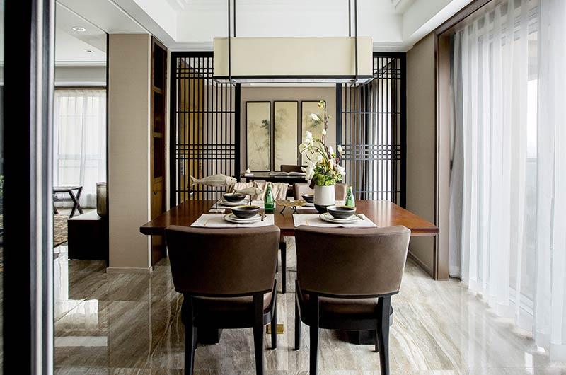 现代中式三居室装修餐厅效果图