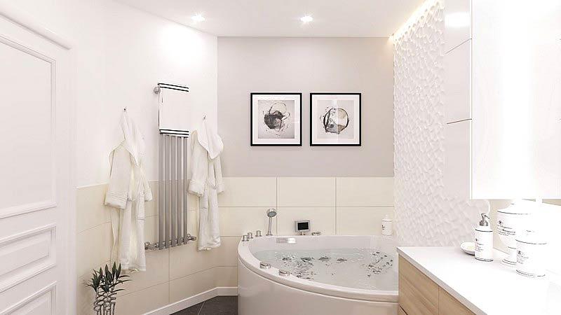 北欧三居室装修卫生间浴缸图