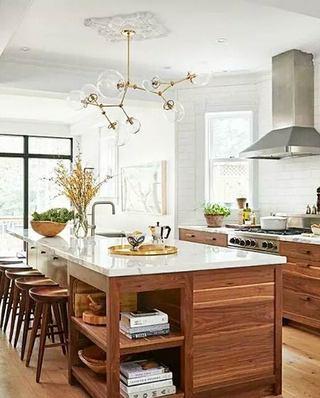 美式风格开放式厨房效果图