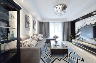 140平简约三居室客厅地毯效果图