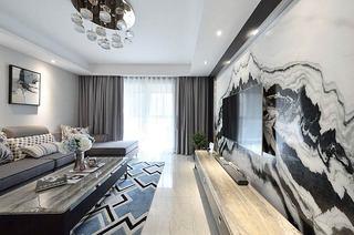 140平简约三居室石材电视背景墙