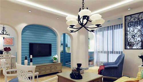 地中海电视墙装修展现唯美浪漫的客厅生活【宝鸡装修公司全包电话】