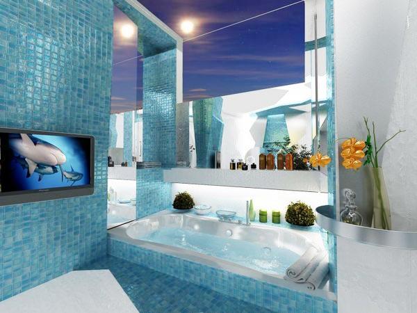 蓝色系浴室装修图片大全