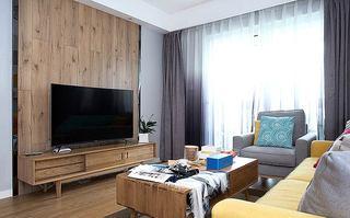 北欧风格小三室装修木质电视背景墙