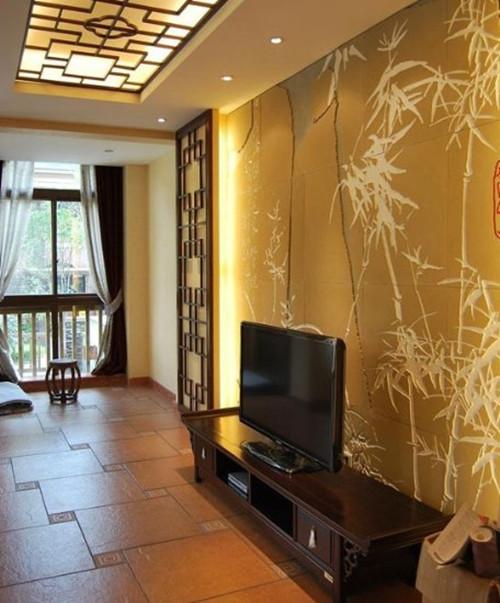 现代中式电视背景墙效果图 新中式装修设计案例