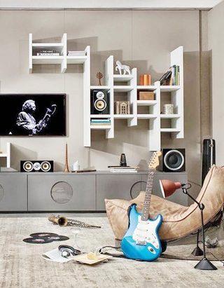 电视背景墙收纳设计欣赏图