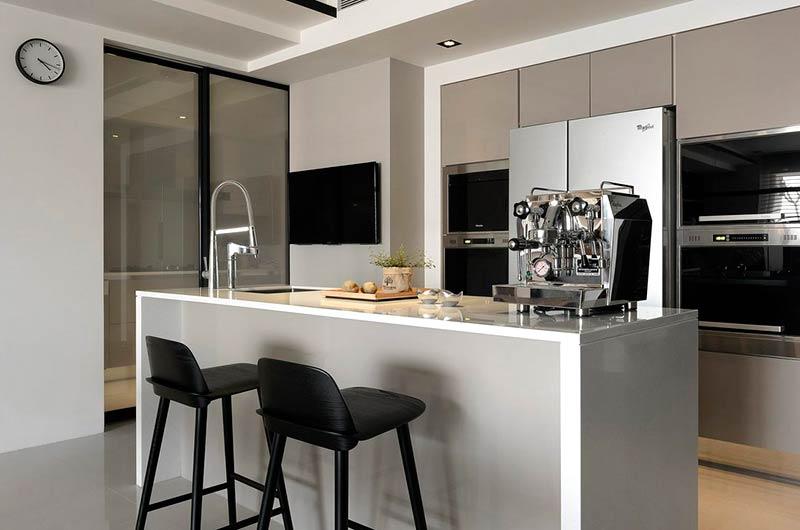 简约风格三居室厨房吧台效果图