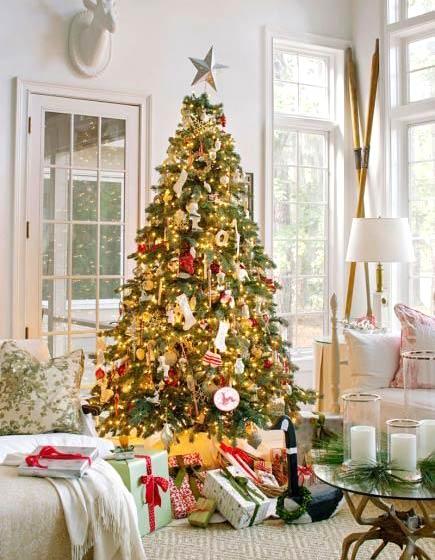 家庭客厅圣诞布置效果图